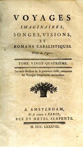 Voyages imaginaires songes visions et romans cabalistiques. Ornes de figures. Tome 24. Contiene: Julien l'apostat vo