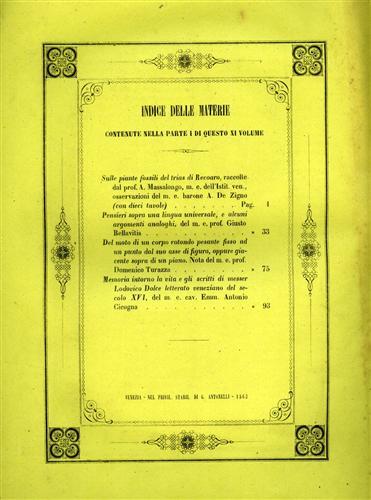 -- - Memorie dell'I. R. Istituto Veneto di Scienze, Lettere ed Arti. Vol.XI, Parte prima. Contiene: De Zigno,A., Sulle p