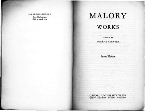 Malory, Thomas. - Works.