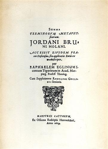 Bruno,Giordano. - Summa terminorum metaphysicorum.